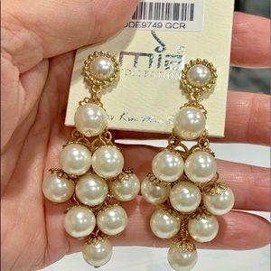 Large, Delicate Faux Pearl Pierced Earrings